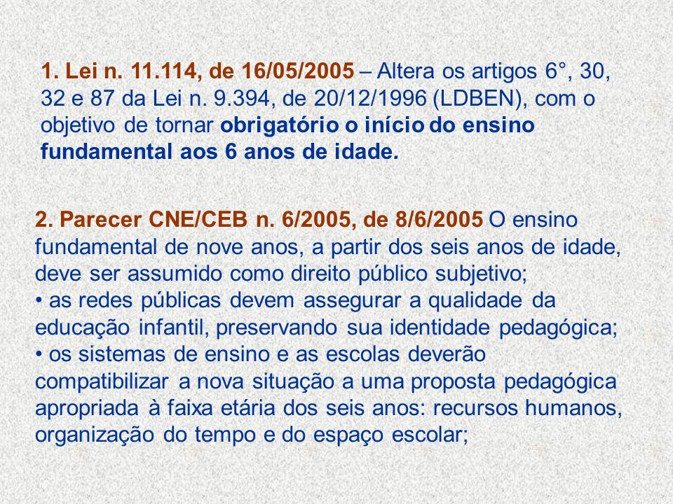 1. Lei n. 11.114, de 16/05/2005 – Altera os artigos 6°, 30, 32 e 87 da Lei n. 9.394, de 20/12/1996 (LDBEN), com o objetivo de tornar obrigatório o início do ensino fundamental aos 6 anos de idade.