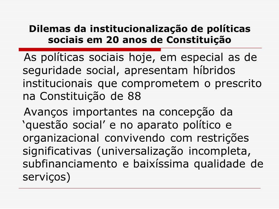Dilemas da institucionalização de políticas sociais em 20 anos de Constituição