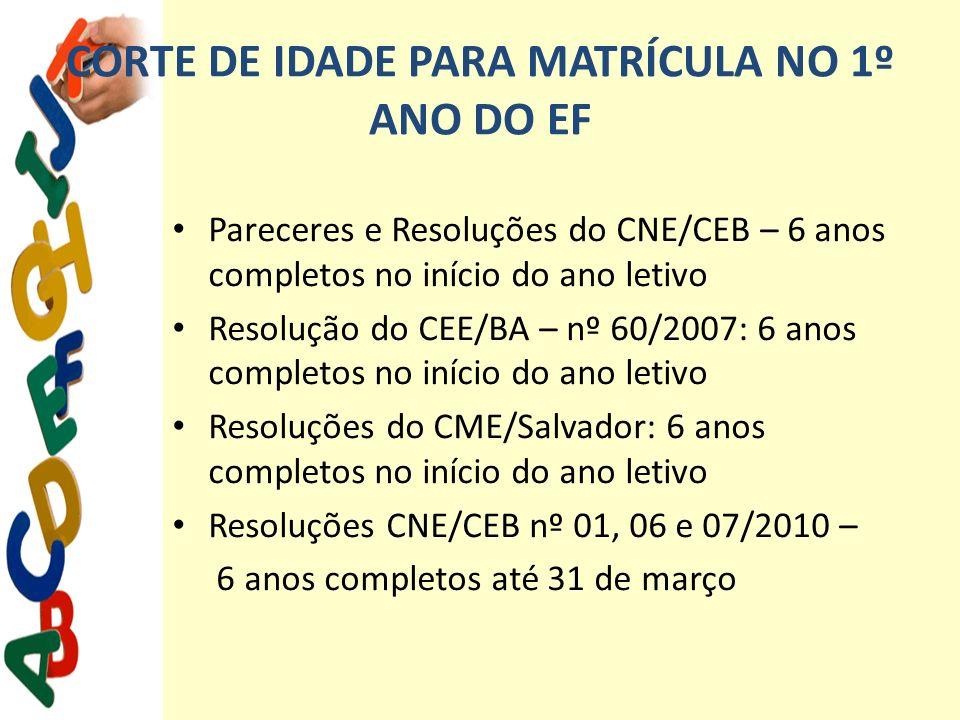 CORTE DE IDADE PARA MATRÍCULA NO 1º ANO DO EF