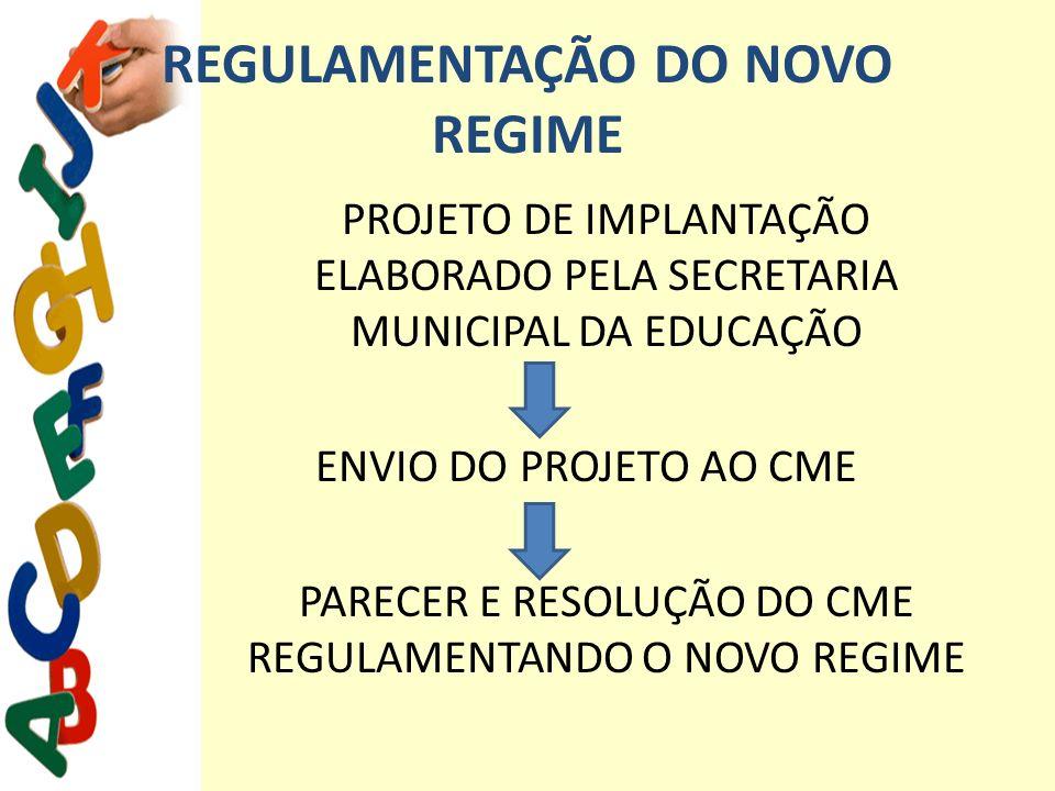 REGULAMENTAÇÃO DO NOVO REGIME
