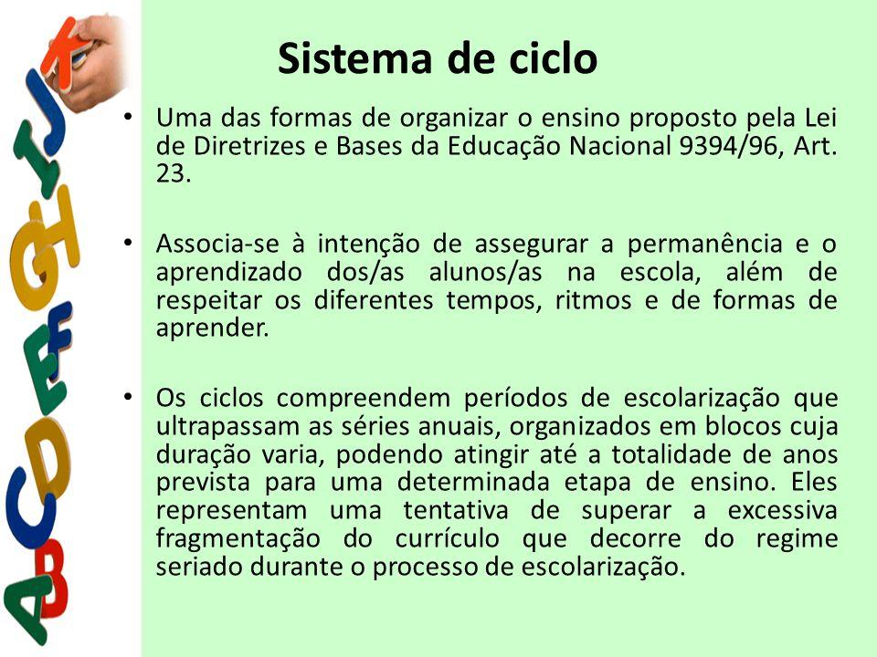 Sistema de ciclo Uma das formas de organizar o ensino proposto pela Lei de Diretrizes e Bases da Educação Nacional 9394/96, Art. 23.