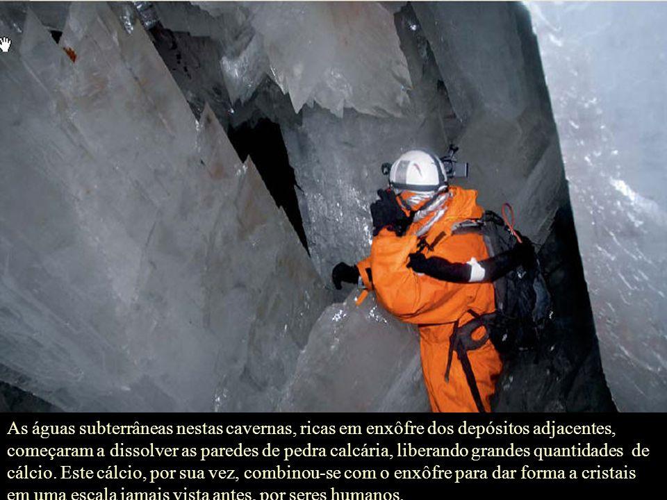 As águas subterrâneas nestas cavernas, ricas em enxôfre dos depósitos adjacentes, começaram a dissolver as paredes de pedra calcária, liberando grandes quantidades de cálcio.