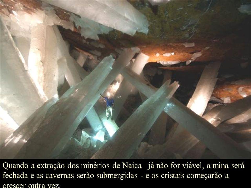 Quando a extração dos minérios de Naica já não for viável, a mina será fechada e as cavernas serão submergidas - e os cristais começarão a crescer outra vez.