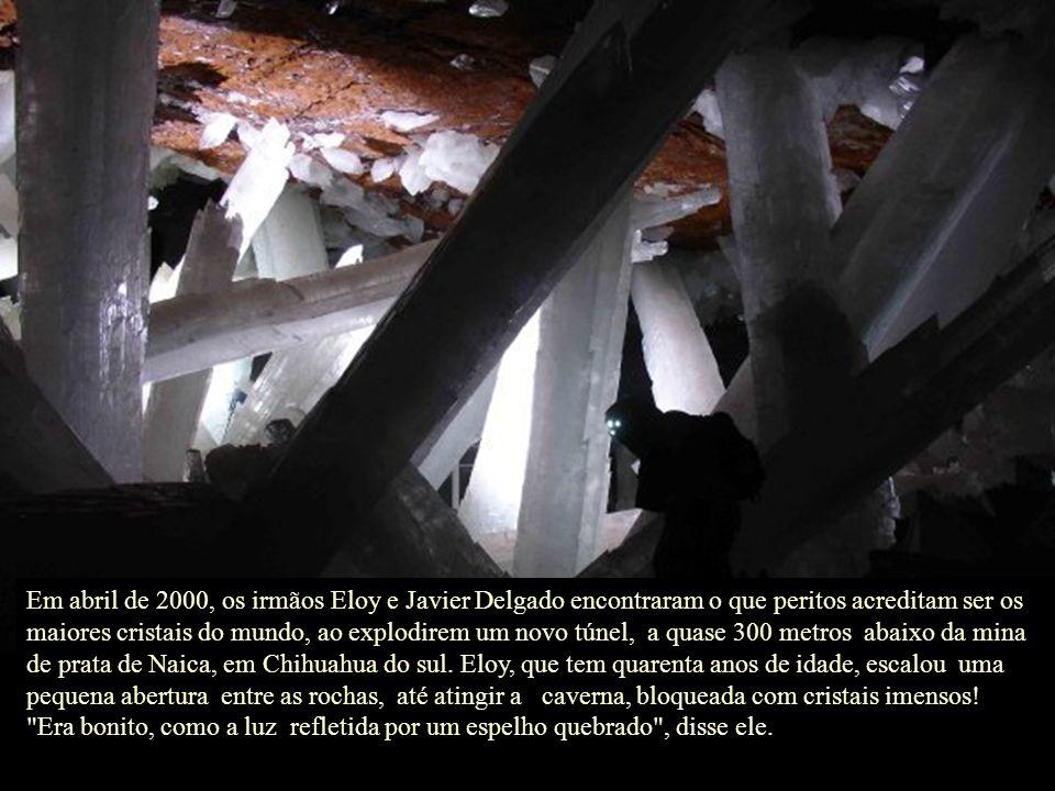 Em abril de 2000, os irmãos Eloy e Javier Delgado encontraram o que peritos acreditam ser os maiores cristais do mundo, ao explodirem um novo túnel, a quase 300 metros abaixo da mina de prata de Naica, em Chihuahua do sul. Eloy, que tem quarenta anos de idade, escalou uma pequena abertura entre as rochas, até atingir a caverna, bloqueada com cristais imensos!