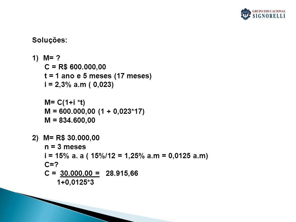 Soluções: M= C = R$ 600.000,00. t = 1 ano e 5 meses (17 meses) i = 2,3% a.m ( 0,023) M= C(1+i *t)