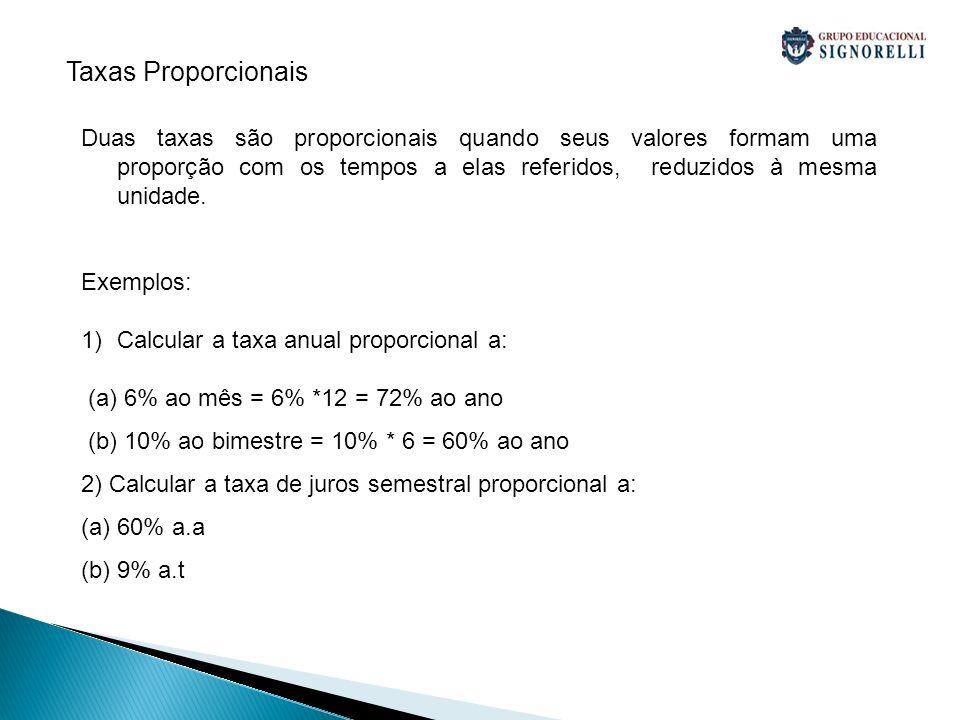 Taxas Proporcionais Duas taxas são proporcionais quando seus valores formam uma proporção com os tempos a elas referidos, reduzidos à mesma unidade.