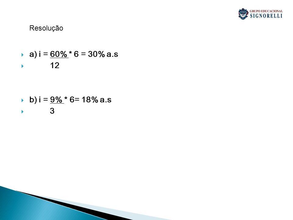 Resolução a) i = 60% * 6 = 30% a.s 12 b) i = 9% * 6= 18% a.s 3