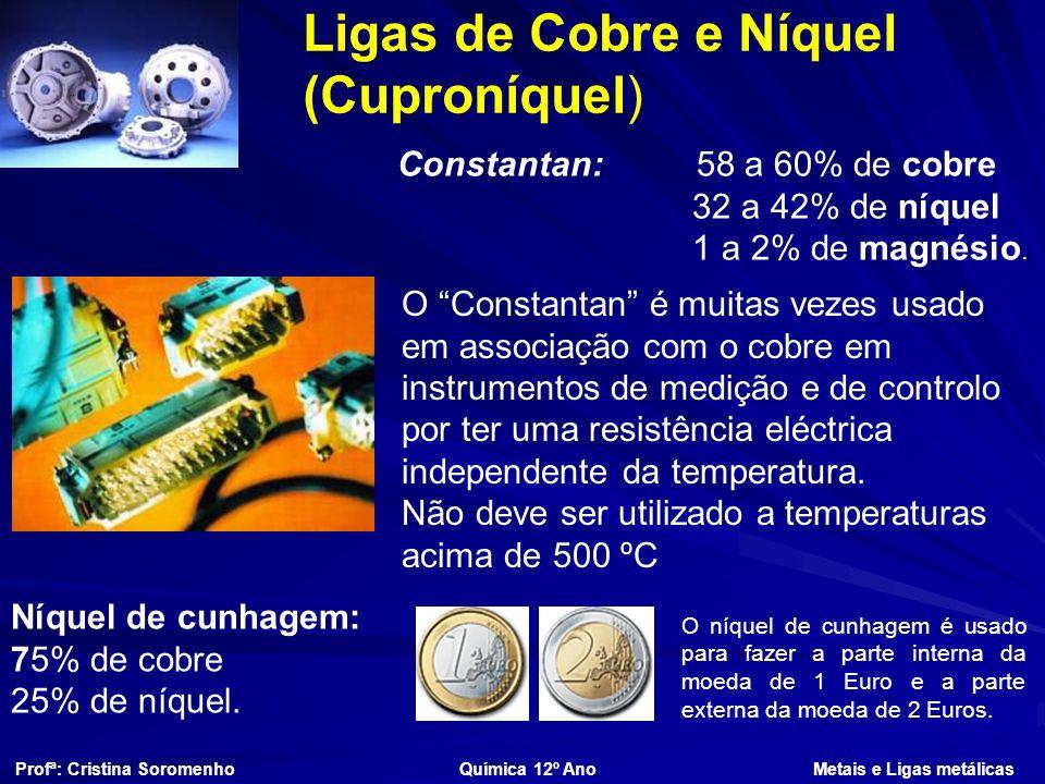 Ligas de Cobre e Níquel (Cuproníquel) Constantan: 58 a 60% de cobre