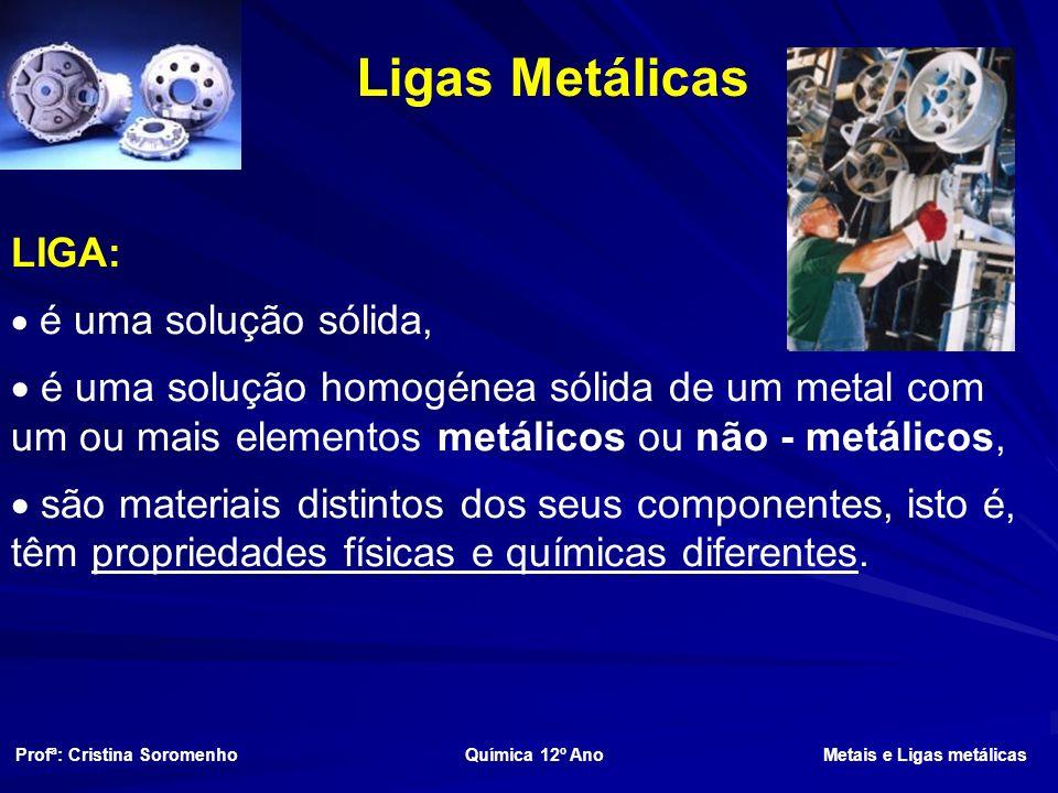 Ligas Metálicas LIGA: é uma solução sólida, é uma solução homogénea sólida de um metal com um ou mais elementos metálicos ou não - metálicos,