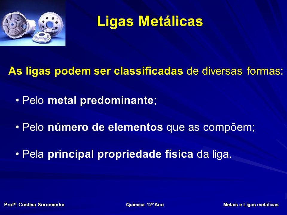 Ligas Metálicas As ligas podem ser classificadas de diversas formas: