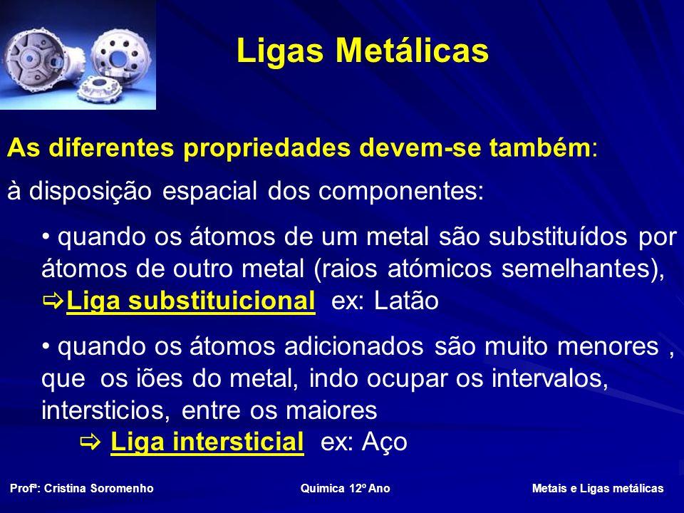 Ligas Metálicas As diferentes propriedades devem-se também: