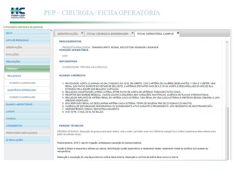 PEP – CIRURGIA / FICHA OPERATÓRIA