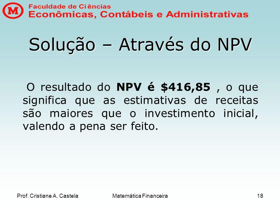 Solução – Através do NPV