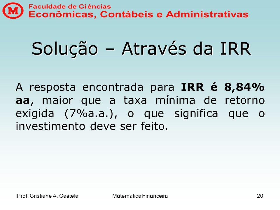 Solução – Através da IRR