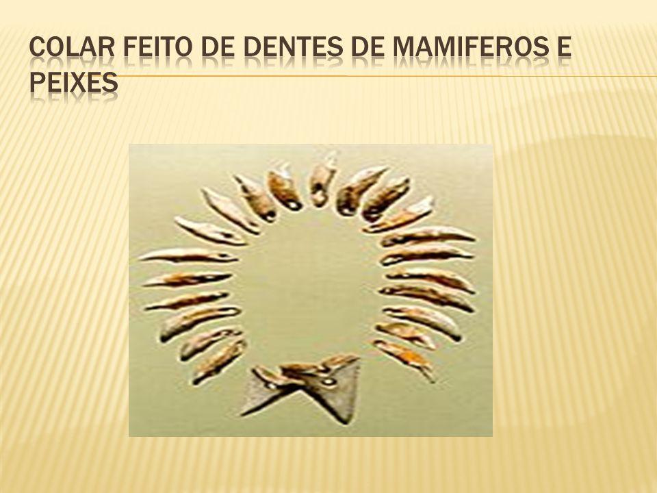 COLAR FEITO DE DENTES DE MAMIFEROS E PEIXES