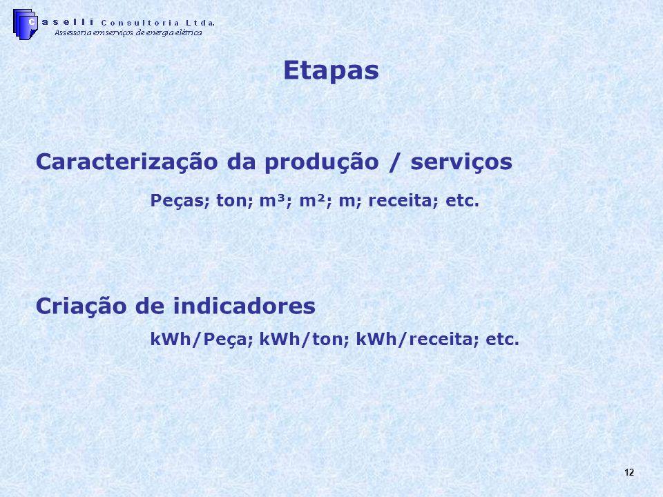 Etapas Caracterização da produção / serviços Criação de indicadores
