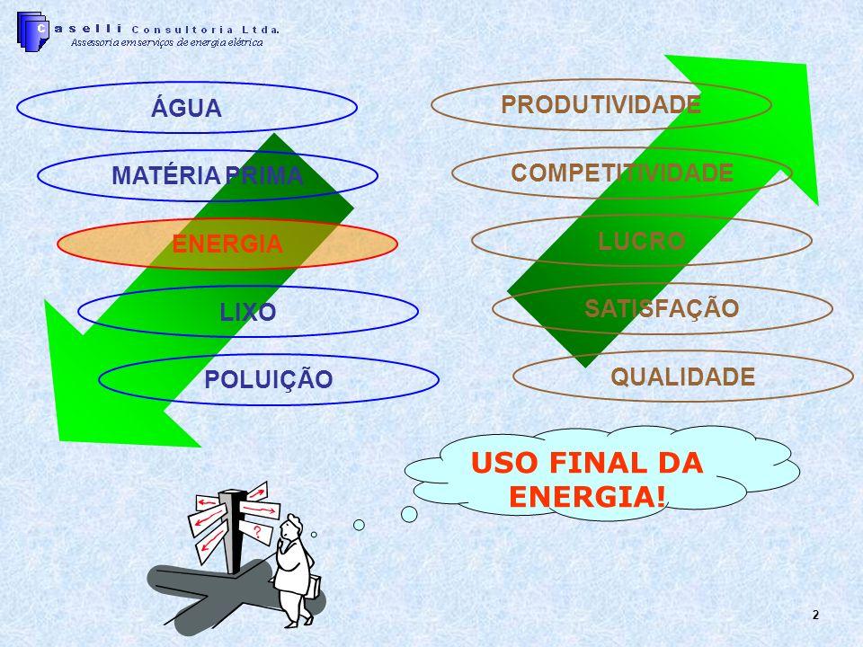 USO FINAL DA ENERGIA! PRODUTIVIDADE ÁGUA COMPETITIVIDADE MATÉRIA PRIMA