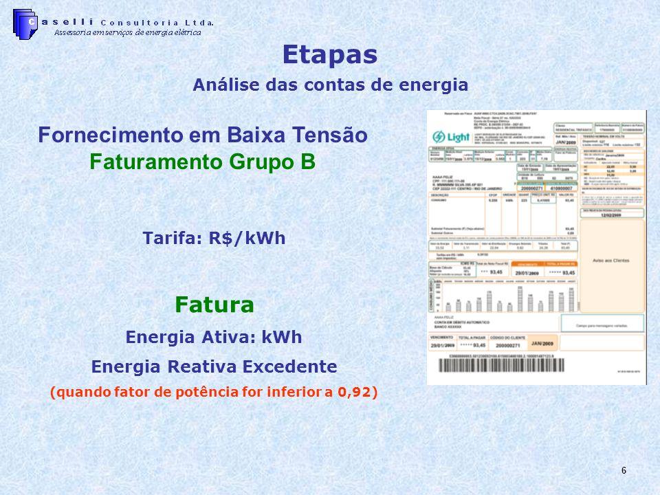 Etapas Fornecimento em Baixa Tensão Faturamento Grupo B Fatura