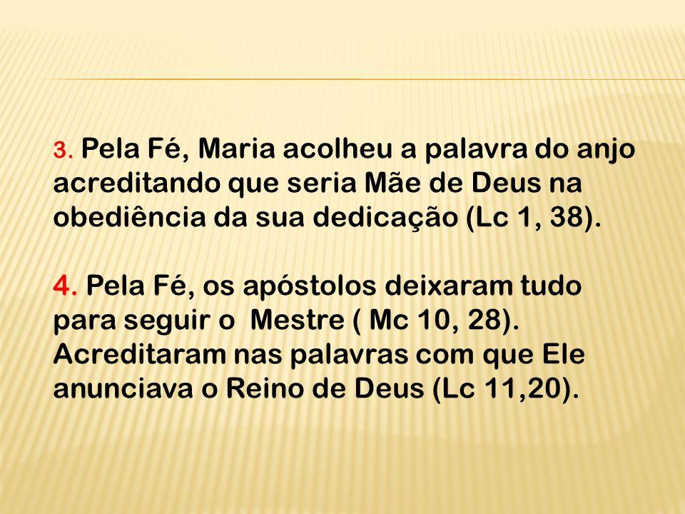 3. Pela Fé, Maria acolheu a palavra do anjo acreditando que seria Mãe de Deus na obediência da sua dedicação (Lc 1, 38).
