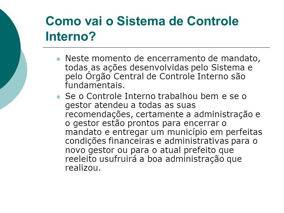 Como vai o Sistema de Controle Interno