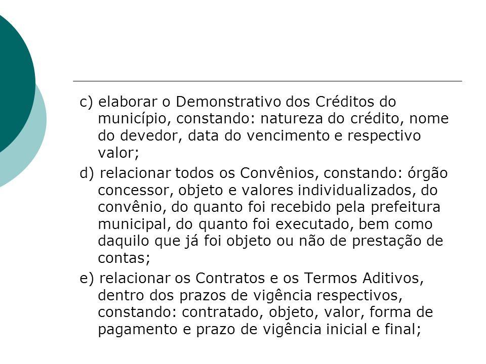c) elaborar o Demonstrativo dos Créditos do município, constando: natureza do crédito, nome do devedor, data do vencimento e respectivo valor;
