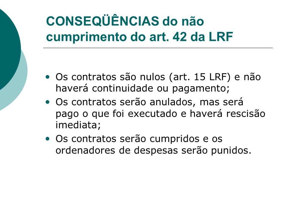 CONSEQÜÊNCIAS do não cumprimento do art. 42 da LRF