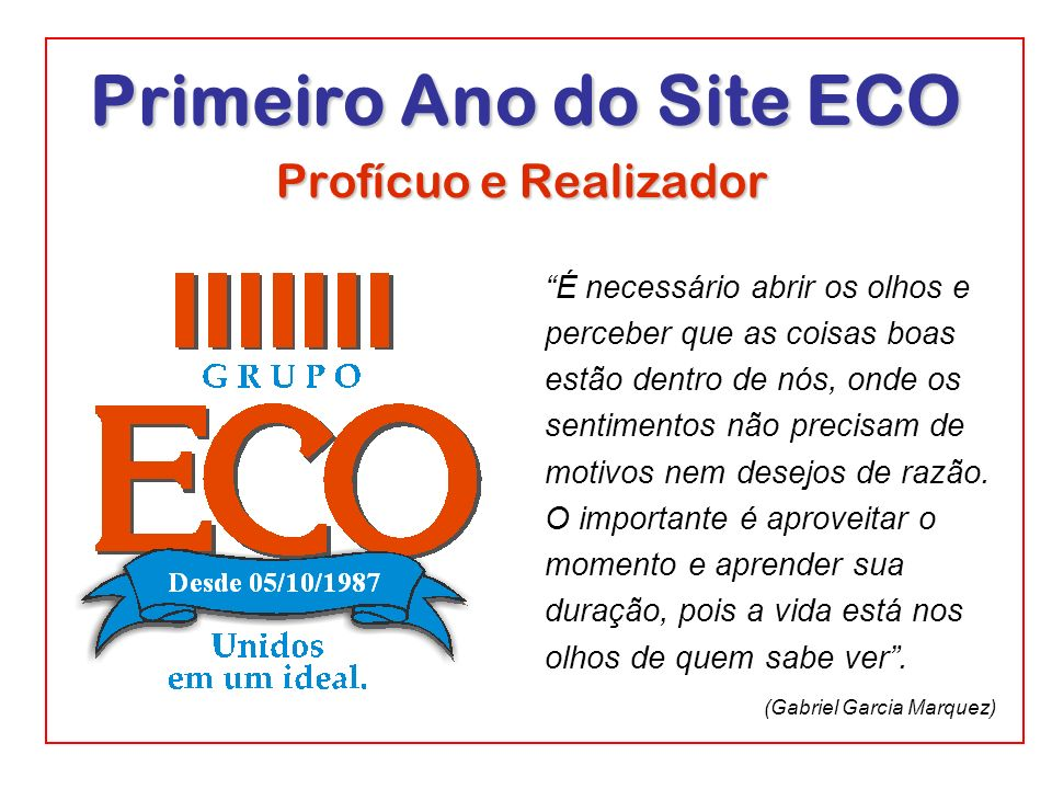 Primeiro Ano do Site ECO