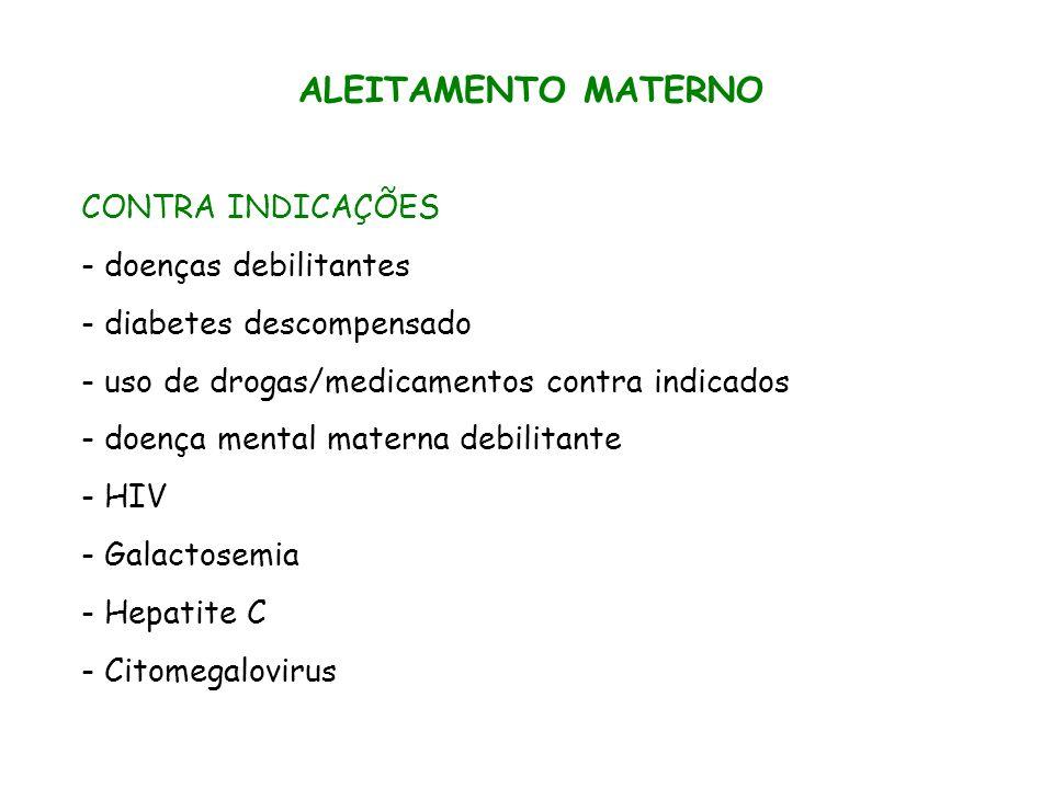 ALEITAMENTO MATERNO CONTRA INDICAÇÕES - doenças debilitantes