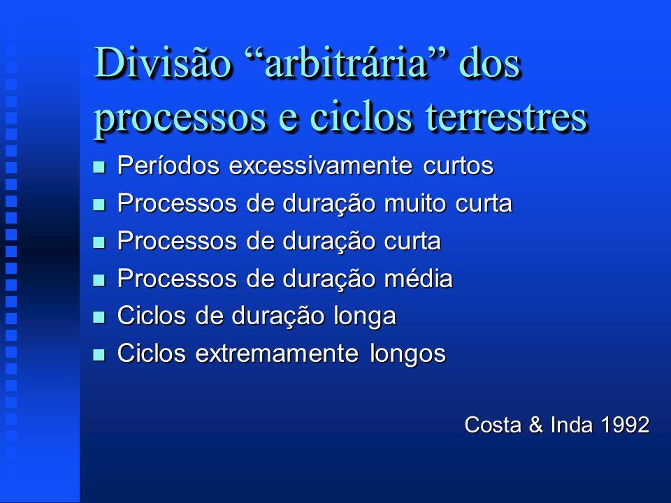 Divisão arbitrária dos processos e ciclos terrestres