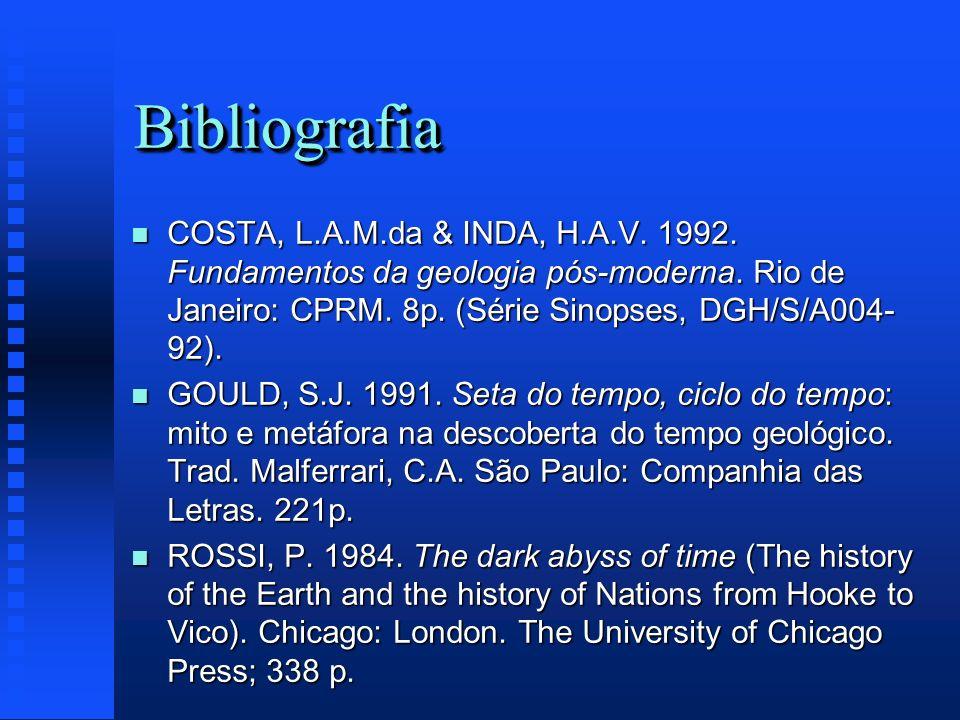 Bibliografia COSTA, L.A.M.da & INDA, H.A.V. 1992. Fundamentos da geologia pós-moderna. Rio de Janeiro: CPRM. 8p. (Série Sinopses, DGH/S/A004-92).