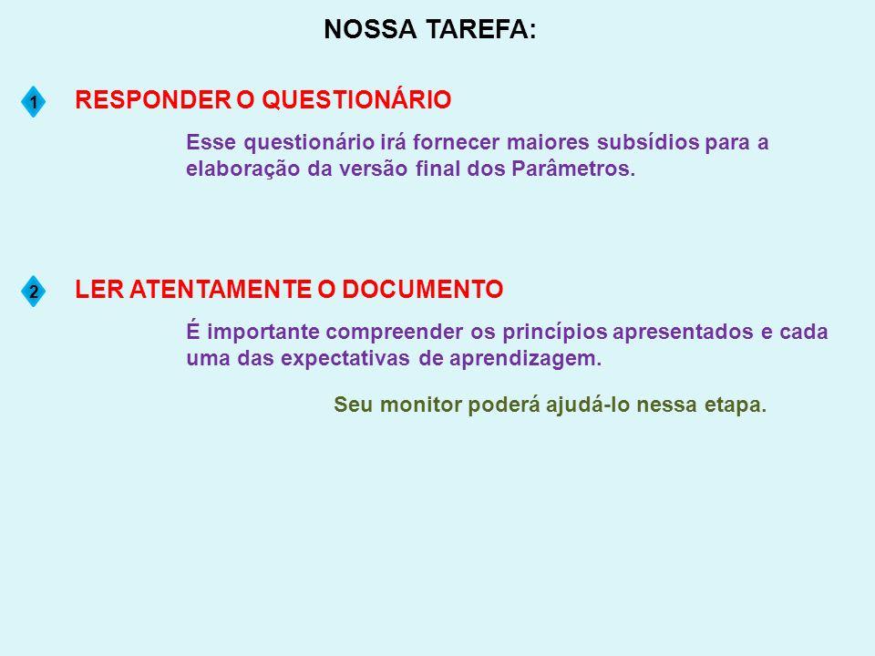 NOSSA TAREFA: RESPONDER O QUESTIONÁRIO LER ATENTAMENTE O DOCUMENTO