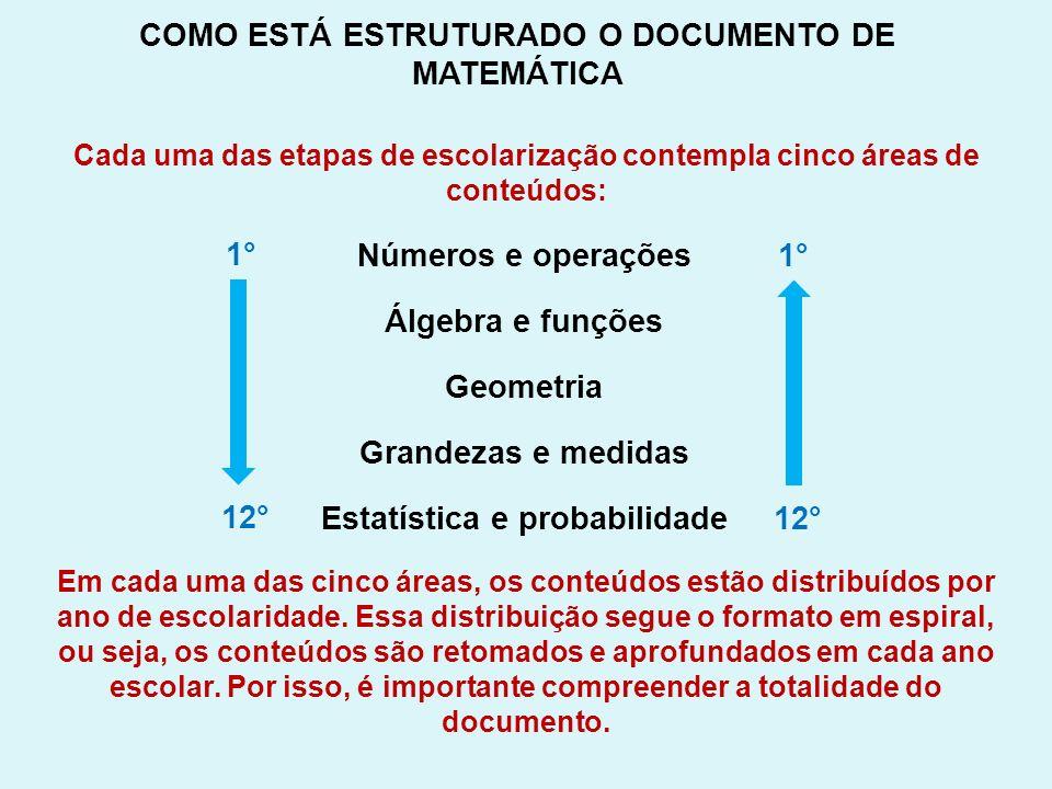 COMO ESTÁ ESTRUTURADO O DOCUMENTO DE MATEMÁTICA