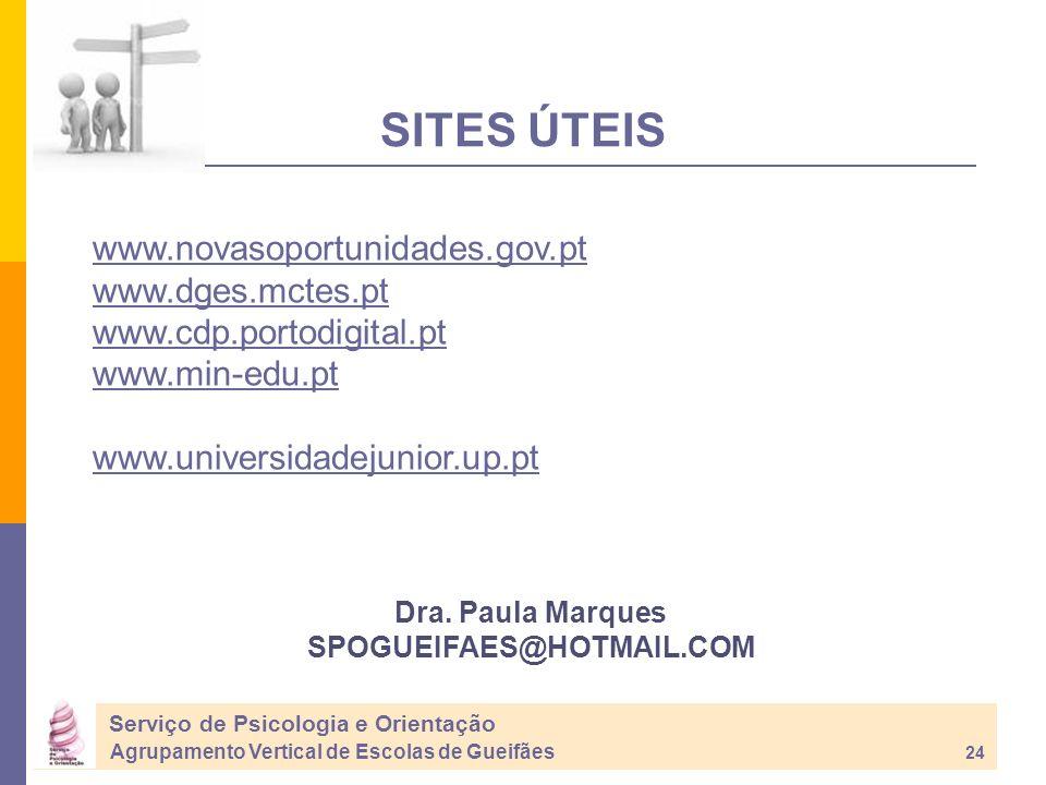 SITES ÚTEIS www.novasoportunidades.gov.pt www.dges.mctes.pt
