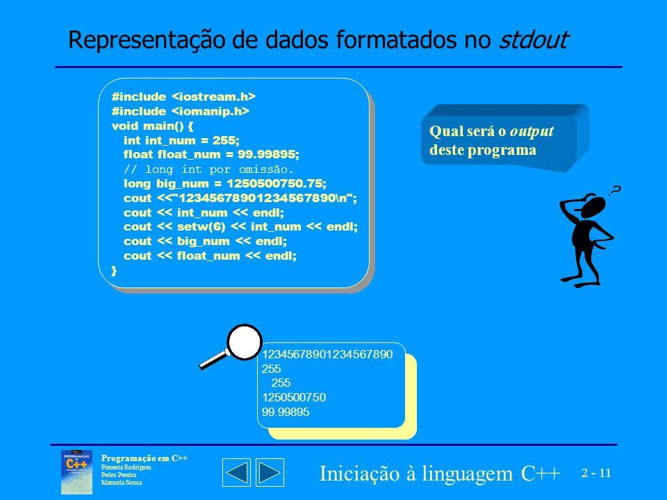 Representação de dados formatados no stdout