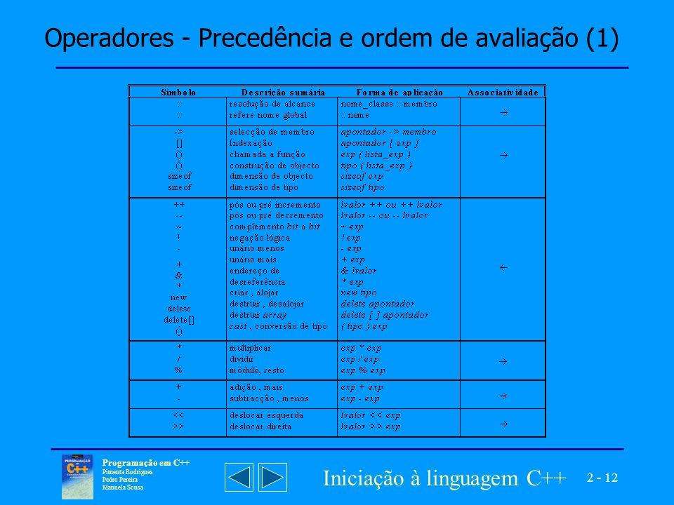 Operadores - Precedência e ordem de avaliação (1)