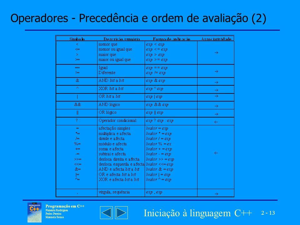 Operadores - Precedência e ordem de avaliação (2)
