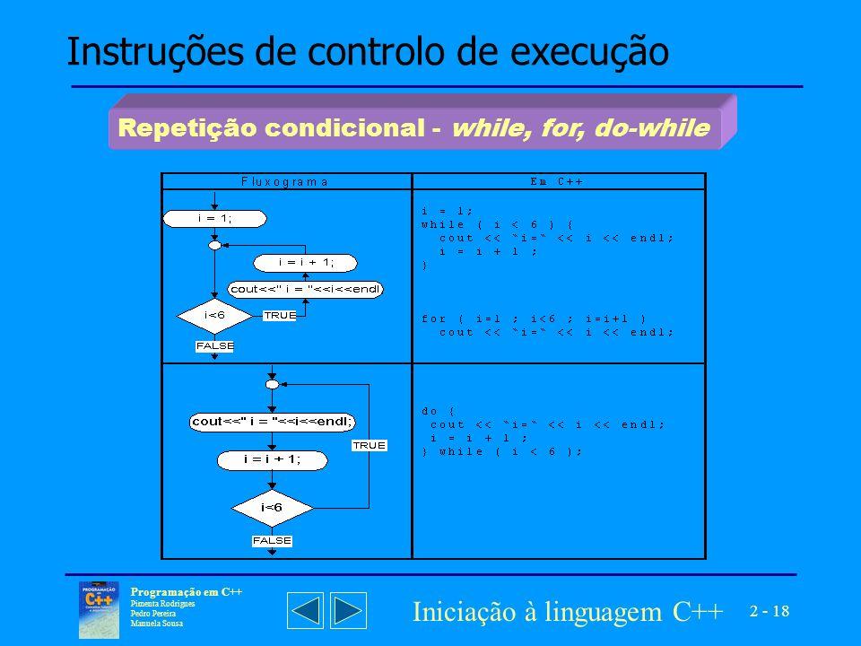 Instruções de controlo de execução