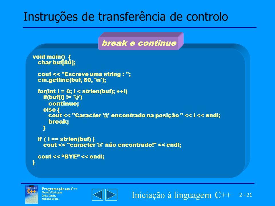 Instruções de transferência de controlo