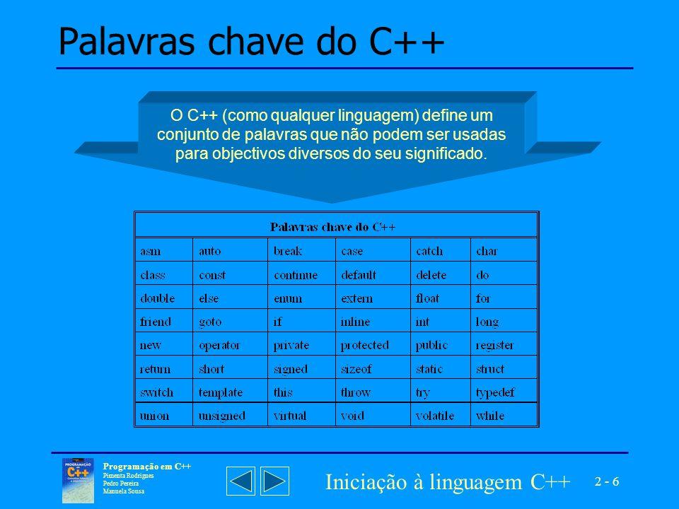 Palavras chave do C++ Iniciação à linguagem C++