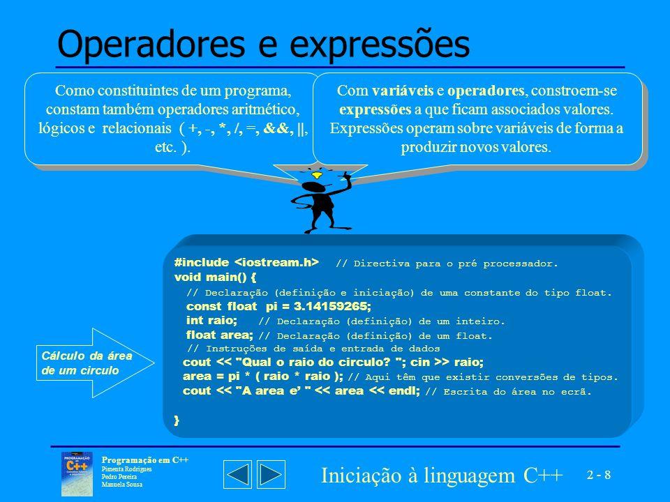 Operadores e expressões