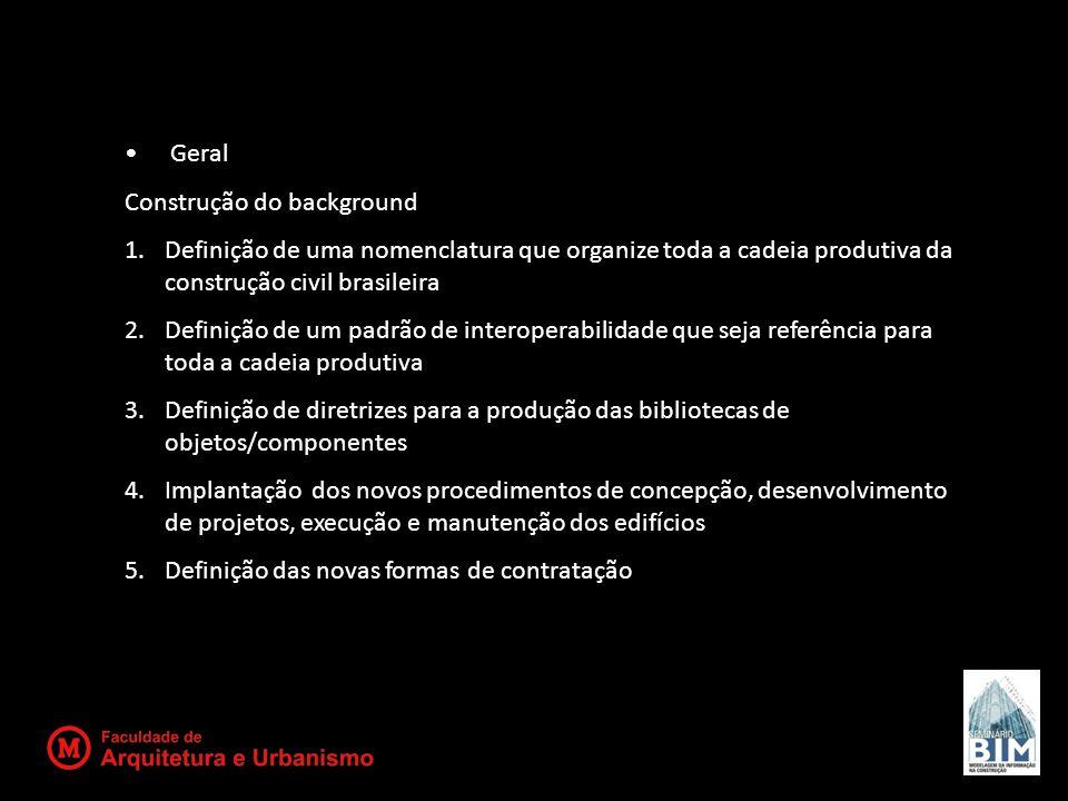 Geral Construção do background. Definição de uma nomenclatura que organize toda a cadeia produtiva da construção civil brasileira.