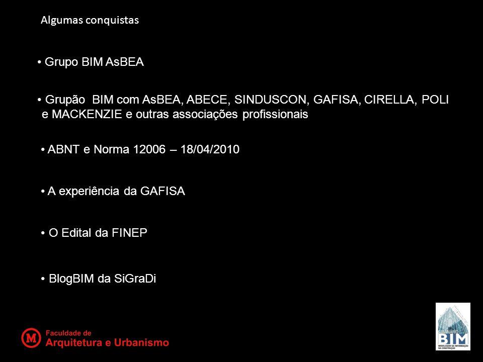 Algumas conquistas Grupo BIM AsBEA. Grupão BIM com AsBEA, ABECE, SINDUSCON, GAFISA, CIRELLA, POLI e MACKENZIE e outras associações profissionais.