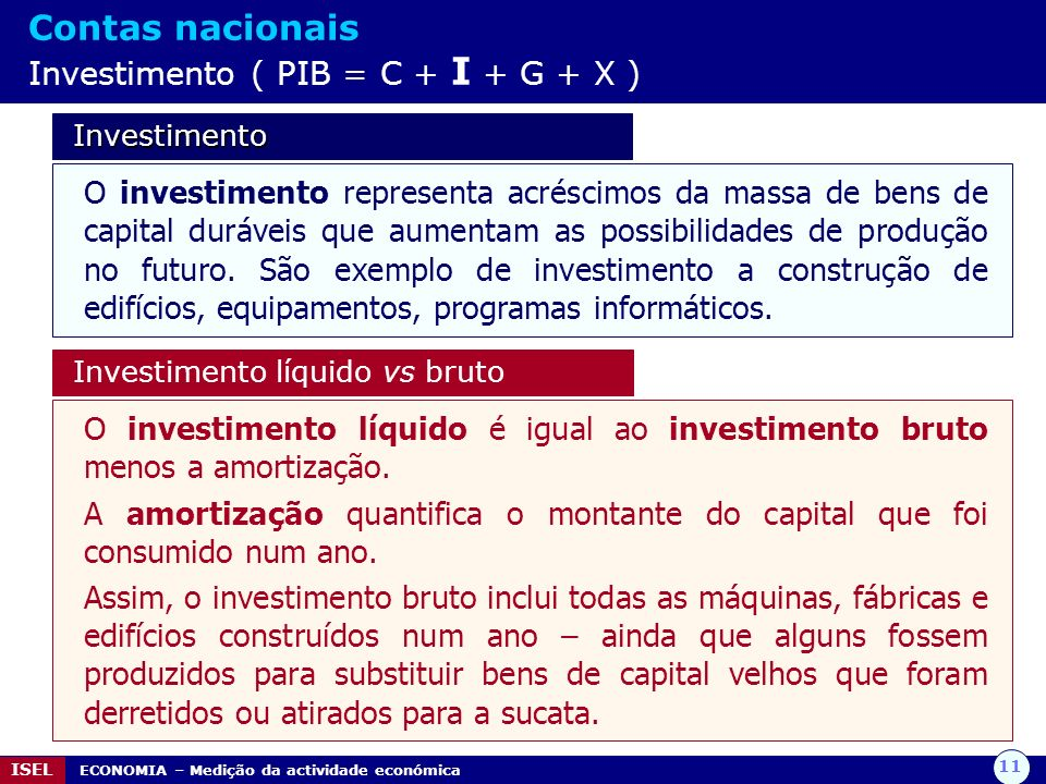Contas nacionais Investimento ( PIB = C + I + G + X )