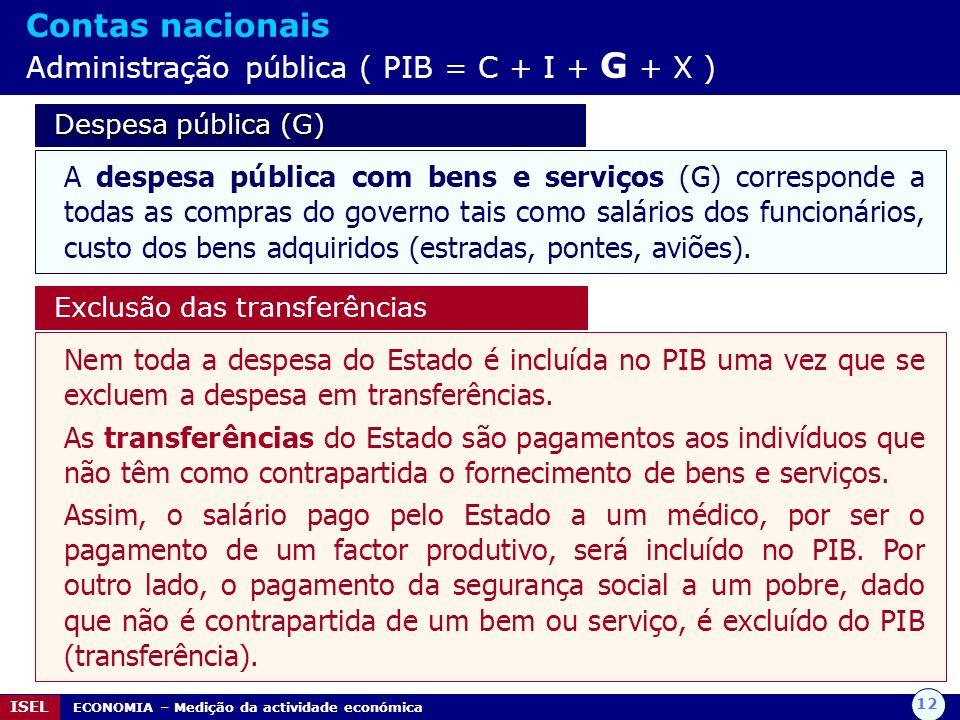 Contas nacionais Administração pública ( PIB = C + I + G + X )