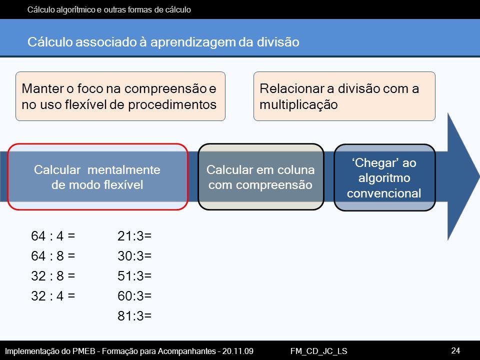 Cálculo associado à aprendizagem da divisão