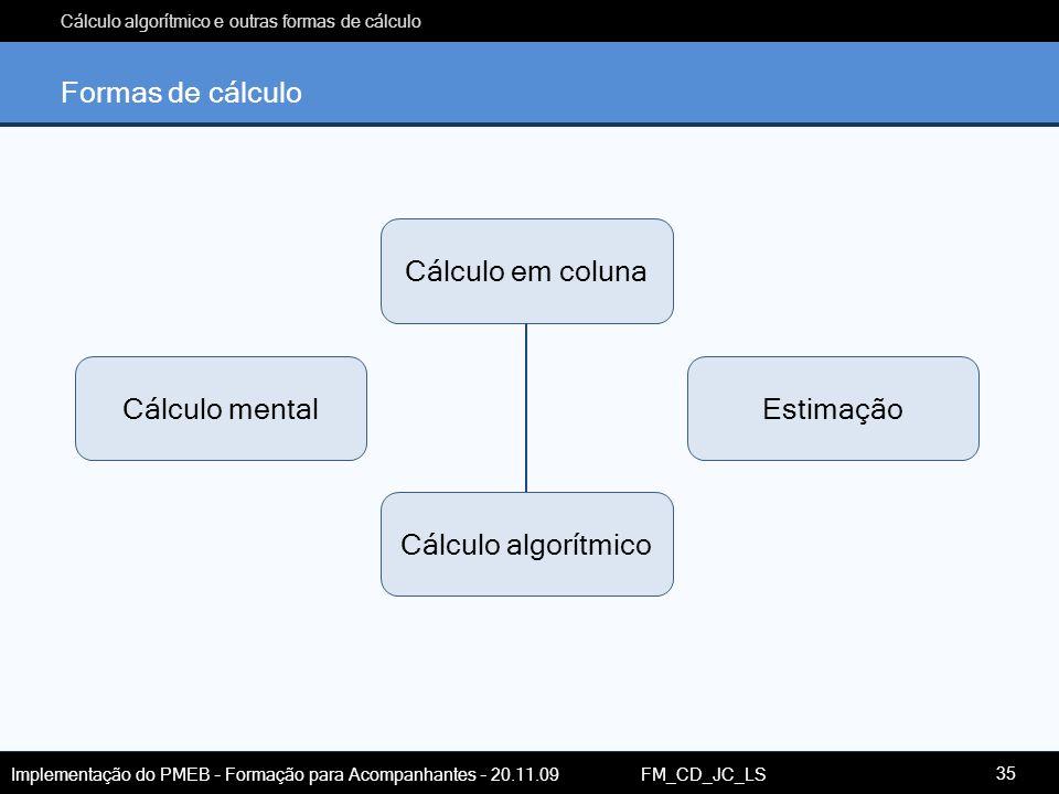 Formas de cálculo Cálculo em coluna Cálculo mental Estimação Cálculo algorítmico