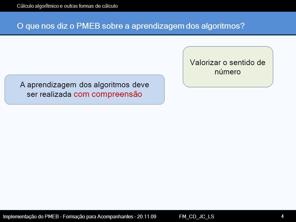 O que nos diz o PMEB sobre a aprendizagem dos algoritmos