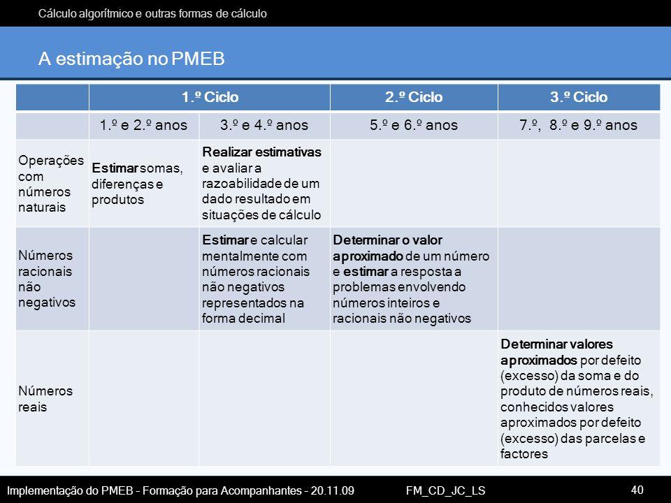 A estimação no PMEB 1.º Ciclo 2.º Ciclo 3.º Ciclo 1.º e 2.º anos