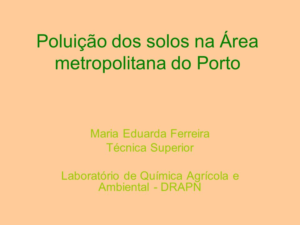 Poluição dos solos na Área metropolitana do Porto