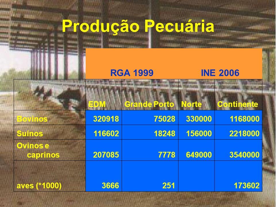 Produção Pecuária RGA 1999 INE 2006 EDM Grande Porto Norte Continente